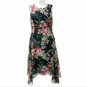 Tommy Hilfiger (S) Green Floral Chiffon Dress
